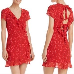 Bardot Red Dot Wrap Open Back Dress